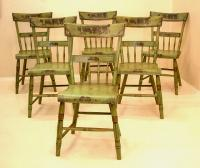 Early country chairs in apple green paint c1825