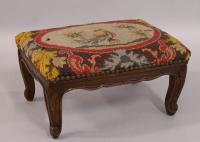 French Antique needlepoint foot stool c1880