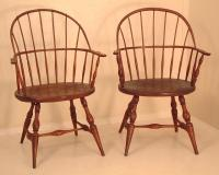 Antique Pair Sack Back Windsor Arm Chairs