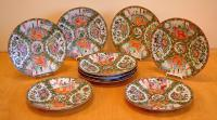 9 Chinese Export Rose Medallion Porcelain Plates