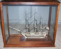 Antique French Prisoner of war ivory war ship model