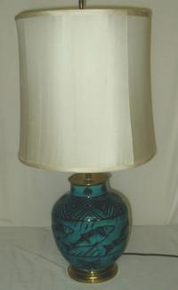 Vintage Longwy pottery Fish Lamp