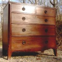 English French foot Hepplewhite chest of drawers c1810