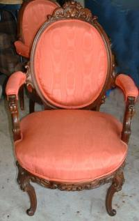 Pair Victorian Walnut parlor chairs c1890