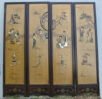 Chinese four part room divider screen c 1900