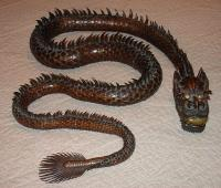 Japanese reticulated mythological snake dragon sculpture