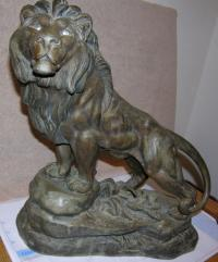 L Carvin French bronze lion sculpture
