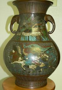 Chinese champleve bronze oriental vase