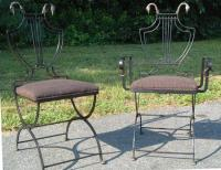 French iron Goose neck folding Empire chairs c1900