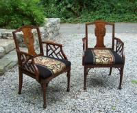 Pair Chinese Rosewood arm chairs c1900