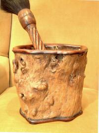 Chinese Huang Huali wood brush pot in tree stump