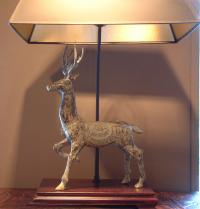 Chinese bronze deer table lamp