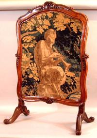 Period French Louis XV walnut fire screen c1770