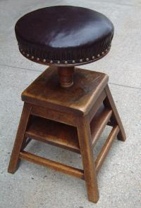 Antique Wood leather French artist stool c1875