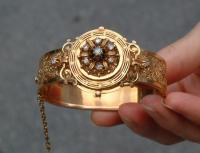 French 18k bangle diamond bracelet c1870