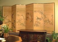 Six fold Japanese Byobu screen with falcons