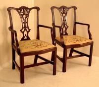 Antique Centennial American Chippendale Mahogany Arm Chairs