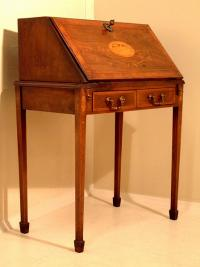 Regency slant front desk with satin wood inlay c1820