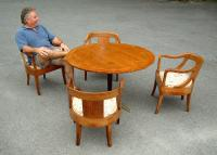 Baker Company Modern Bridge Table and four chairs C1940