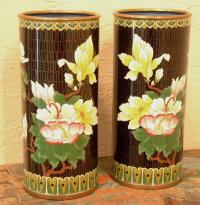 Chinese cylinder form cloisonne vases circa 1920
