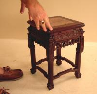 Antique Chinese rosewood marble top end table c1880