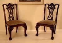 Pair Centennial American Chippendale side chairs ball and claw feet c1880