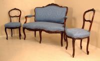 Antique French upholstered carved walnut parlor set c1875