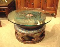 Cloisonne Chinese temple base coffee table c1800 to 1850