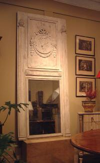 Large French panel mirror with pineapples columns swagged center medallion