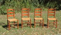 Vintage set maple ladder back dining chairs with ash splint seats c1930