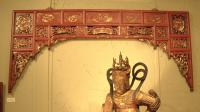 Chinese alcove overdoor cinnamon red with gild c1880