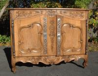 Period French Louis XV fruitwood buffett server with panel doors c1750