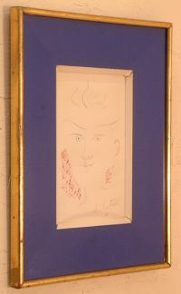 French Poet Jean Cocteau signed drawing