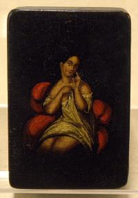 Antique Hand Painted Tobacco Snuff Box woman of the evening c1820