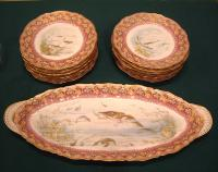 Theodore Haviland Limoges French porcelain Fish set L Martin c1903 1925