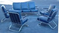 Lloyd Blue Deco couch and four chairs Modern Chrome Parlor set c1930