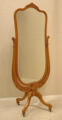 John Breuner Birdseye maple beveled glass cheval mirror c1890