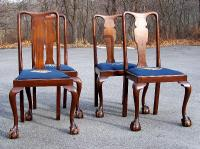 Centennial mahogany ball and claw foot chairs set of four