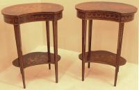 Pair of French inlaid kidney shaped night stands c1880