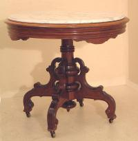 American Victorian walnut inset marble top center table