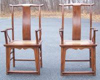 Pair yoke back Chinese armchairs c1800