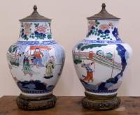 Pair 18th 19th century Japanese Imari jars mounted as lamps