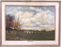 Charles P Gruppe oil on canvas landscape The Sheep Pasture