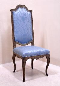 Period French side chair with original pewter wash paint 1820