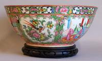 Chinese Porcelain Rose Medallion Punch Bowl c1890