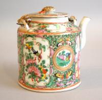 Rose Medallion picnic export porcelain teapot c1880
