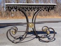 French Cast and Wrought Iron Marble Top Bakers Table c1865