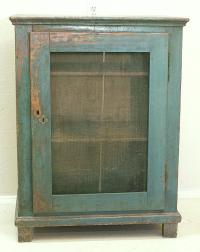 Antique French pie safe in teal blue green with screen door c1800