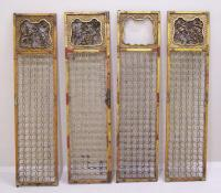 Set Antique matching Chinese carved wood door panels