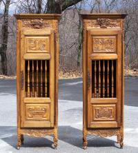 Antique French pair provincial walnut pannetiere cupboards c1750